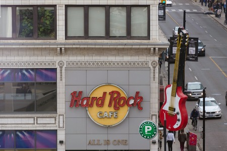 hard rock cafe: Hard Rock Cafe establishment at Torontos downtown area: Hard Rock Cafe is a chain of theme restaurants known for covering its walls with rock and roll memorabilia.