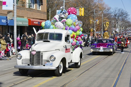 notorious: Toronto 2016 Beaches Lions Club Easter Parade: Vintage cars. The parade celebrates 50th anniversary in the Queen Street East during Easter Sunday