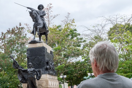ignacio: Ignacio Agramonte y Loynaz statue or sculpture in the plaza bearing his name. Agramonte  was a Cuban revolutionary, who played an important part in the Ten Years War Stock Photo