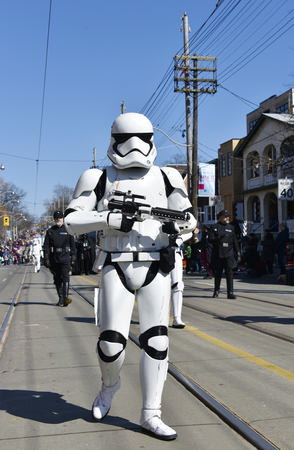 notorious: Toronto 2016 Beaches Lions Club Easter Parade: Star Wars characters. The parade celebrates 50th anniversary in the Queen Street East during Easter Sunday