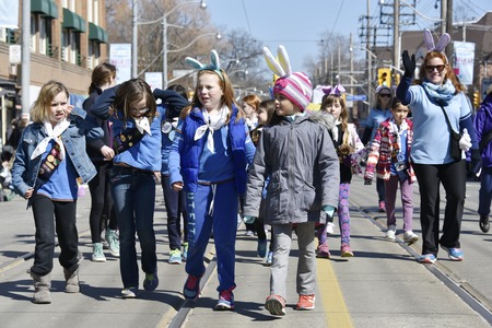 notorious: Lions Club Easter parade, celebrating 50th anniversary: Kids wearing bunny ears, walking down the parade