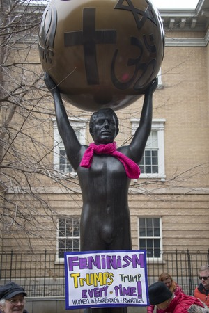 marched: Toronto,Canada-January 21, 2017: Womens Solidarity March.  Women and their allies marched in support of the Womens March in Washington. Toronto city saw one of the largest events on its history as thousands of people protested the Donald Trump stances.