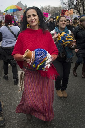 marched: Member of Samba squad partaking in the Womens Solidarity March.   Women and their allies marched in support of the Womens March in Washington. Toronto city saw one of the largest events on its history as thousands of people protested the Donald Trump st Editorial