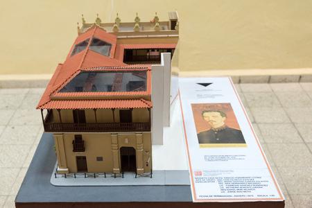 ignacio: Ignacio Agramonte natal house model. Model tiled vintage building with information card. La Maqueta indoors details. Editorial