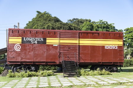 Armoured Train Derailment Monument honouring the Battle of Santa Clara led by Che Guevara. Train container bogie named Logistica S-4 on display at a memorial.
