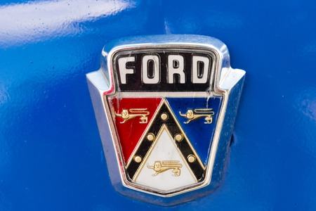 Ford brand name logo in old classic American car still running in Cuban streets