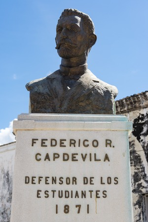 Bronze statue bust of Federico Capdevila. He was the honorable defensor of the Medicine Students condemned to death in 1871 by the colonial Spanish government.