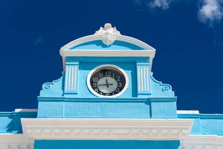Provincial museum old colonial building architectural detail. Small clock tower. Editorial
