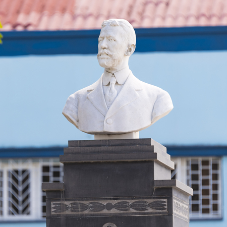 Mario Garcia Menocal bust statue in the Saint Jerome Church plaza square.  He was President of Cuba from 1913 to 1921. His terms as president saw Cubas participation in World War I