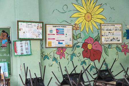 despite: Cuban school classroom interior details.  Despite economic hardship, Cuban Revolution, has maintained education free for all.