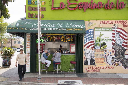 General view of La esquina de la fama or The Corner of Fame is a traditional typical restaurant cafeteria where many personalities and celebrities have tried the Cuban Sandwich.