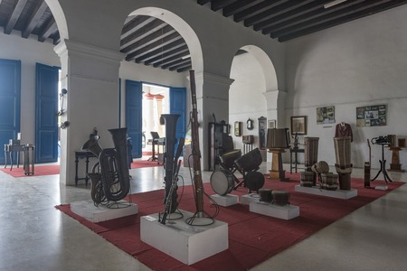 Exhibit of vintage articles in La Periquera colonial architecture house. The old house is located in the main urban plaza or town square and it is a major tourist attraction.