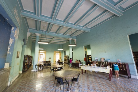 Interior view of the Jose Marti public library. Building and study facility details. The famous building is a tourist attraction located in the National Monument called Parque Vidal Editorial