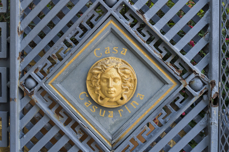 Architecture detail of the Casuarina House  formerly owned by Italian designer Gianni Versace, this glamorous boutique hotel at the center of the Art Deco District