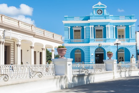 Facade of the Provincial Museum, the old vintage blue building is a tourist attraction and a symbol for the city of Las Tunas, Cuba Stock Photo