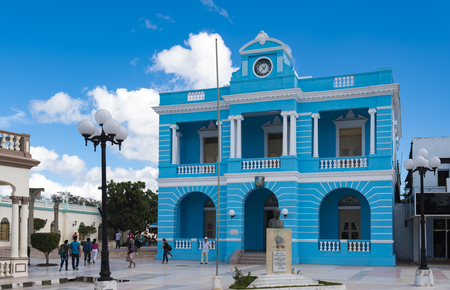 Old vintage blue building exterior facade. The famous place is occupied by the Las Tunas Provincial Museum.