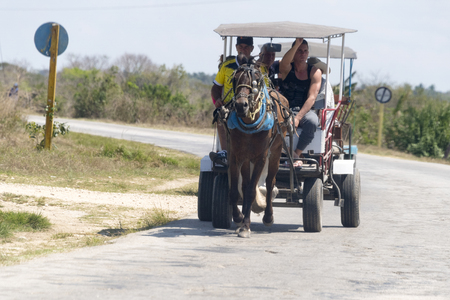 traction: Cuba transportation, horse drawn carriages in the roads transporting real people in daytime. Editorial