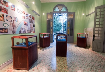 presence: Exhibits and colonial window in the house of cultural diversity indoors detail. The landmark is dedicated to the presence of the African legacy in camagüeyan culture