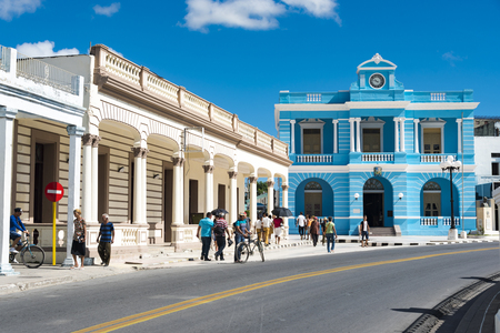 Facade of the Provincial Museum and lifestyle surround it. The old vintage blue building is a tourist attraction and a symbol for the city of Las Tunas, Cuba