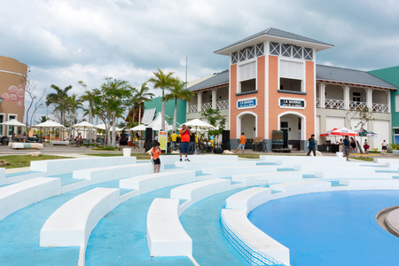 The buildings and architecture of Marina Las Morlas. Seats in the amphitheater. The famous place in Varadero offers sails tours, diverse international and national food and entertainment.