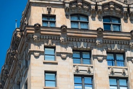 Old Montreal: vintage architectural features of buildings in the Unesco World Heritage site which is an important tourist attraction in Canada