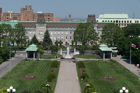 Gardens at Saint Joseph Oratory, aerial view from the basilica church. The college Notre-Dame of Sacred Heart is at the end of the view.