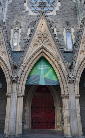 Facade details of Christ Church Cathedral which is an Anglican Gothic Revival building. It is the seat of the Anglican Diocese of Montreal.
