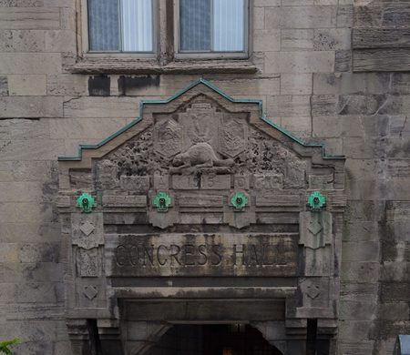 St. Patricks Congress Hall detail, Dorchester Street. Historic and heritage building in the Canadian city