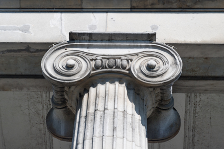 Old Montreal architectural feature of ionic column.
