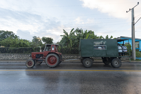 Cuba: Old obsolete cars driving. The island is known for the diversity of vintage cars still driving. They have become a tourist attraction Editorial