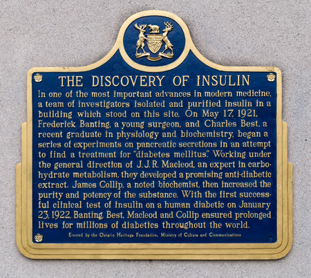 Historic plaque marking the Discovery of Insulin by Frederick Banting and Charles Best