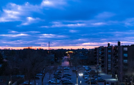 Menacing clouds at dawn in the East part of the city (Scarborough). The beauty of nature in an urban settlement.