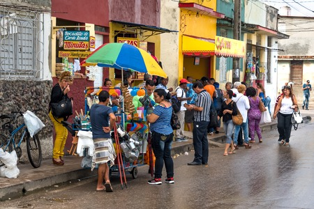Small business and lifestyle around the citys Old Hospital (Hospital Viejo). The private self-employment has come to provide variety in products and prices to the floating population in the area. Editorial