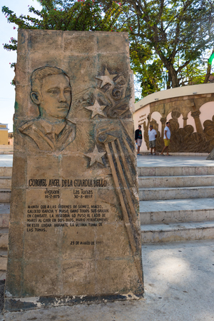 Marti Square: the monument to the 'mambi' Ángel de la Guardia Bello who fell in this place. He was the only eyewitness to the death of the Cuban National Hero 'Jose Marti' Banco de Imagens - 93582796