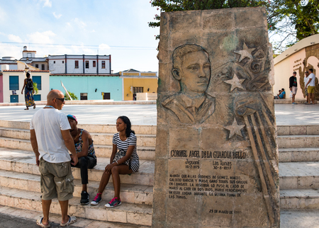 Marti Square: the monument to the 'mambi' Ángel de la Guardia Bello who fell in this place. He was the only eyewitness to the death of the Cuban National Hero 'Jose Marti' Banco de Imagens - 93582812