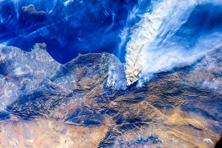 California Wildfires are seen from space by the International Space Station.
