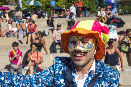 Hispanic Fiesta in Mel Lastman Square: Entertainer interacting amid the general public.