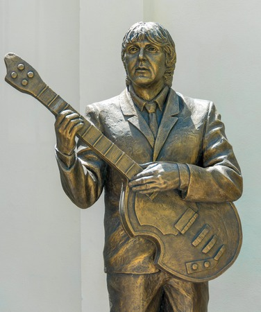 Trinidad, Cuba-July 22, 2016: Monument to the Beatles in the House of Music (detail of Paul McCartney). The Beatles were censured in Cuba. Then, after a re-evaluation, their music is legal again
