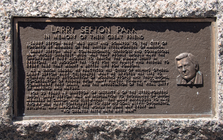 Larry Sefton park on 500 Bay Street. Historic plaque dedicated to the Steelworkers Union Leader who gives name to the public park