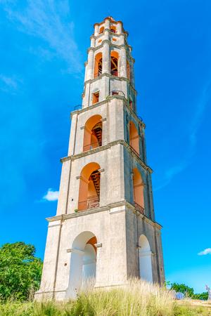 Manaca Iznaga tower on blue clear sky. Stock Photo
