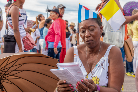 Scenes of Pope Francis to Havana, specifically the historic Catholic Mass held in the Revolution Square. General public attending the religious mass. DATE: Sept. 20, 2015 Editorial