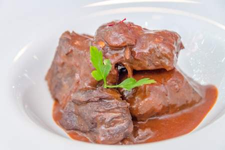 Veal dish in a house sauce.Cuban cuisine. Food served at Salsa Suarez private restaurant or paladar. The place has won multiple international awards.