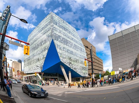 Ryerson Learning Centre in the downtown district. The landmark has become a symbolic entrance to the prestigious Ryerson University