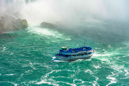 Maid of the Mist cruise ship operating in the internationally famous Niagara Falls.