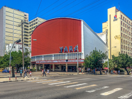 Yara movie theatre at the heart of El Vedado. The area is the city downtown district and the cinema is one of the most important cultural institutions in the island