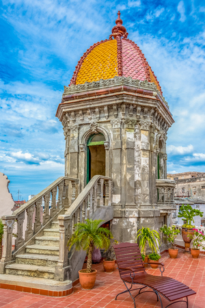 Hotel Raquel roof architecture. The place is a look out to Old Havana. There is a bar in the opposite side