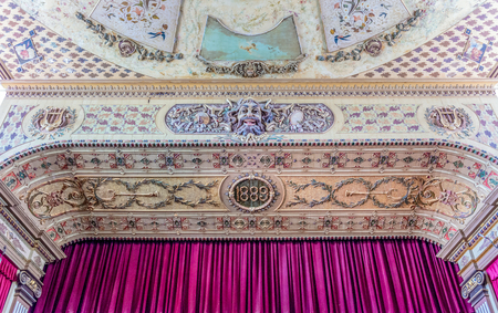 Luxurious stage detail in the Interior of the Theatre Tomas Terry which is part of the Unesco World Heritage Site which is the centre of Cienfuegos city. Editorial