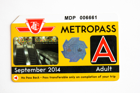 TTC metropass belonging to September of 2014. The Toronto Transit Commission is changing to the Presto Card system starting on January 2019 Sajtókép