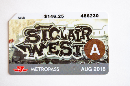 TTC metropass belonging to August of 2018.  The Toronto Transit Commission is changing to the Presto Card system starting on January 2019