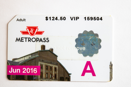 TTC metropass belonging to June of 2016. The Toronto Transit Commission is changing to the Presto Card system starting on January 2019